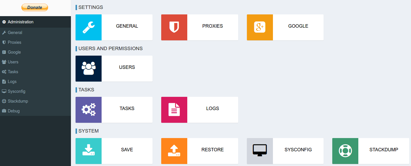 New admin panel with backup and restore feature